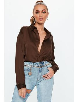 Brown Basic Oversized Satin Shirt by Missguided