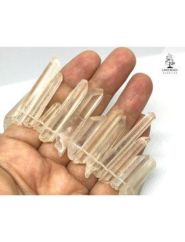 Hämatoid Quarzpunkte, Natürliche Kristallpunkte, Pfirsichfarbe Kristallquarzpunkte, Gebohrte Kristalle, Natürlicher Edelstein by Etsy