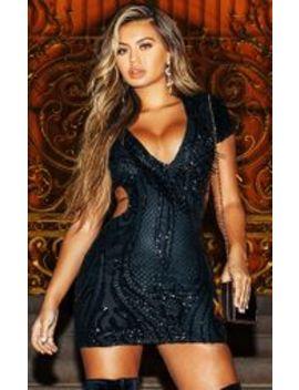 Black Sequin Bead Tassel Bodycon Dress by Prettylittlething