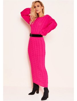 Noara Neon Pink Knit Midi Co Ord Set by Missy Empire