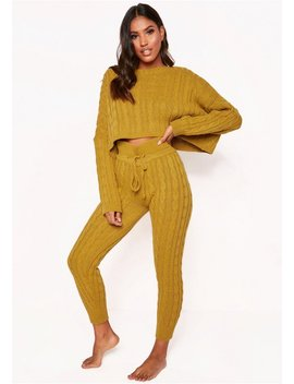 Rene Mustard Cable Knit Cropped Loungewear Set by Missy Empire