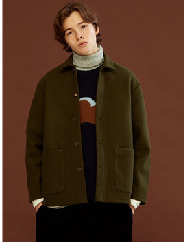 [Unisex] Wool Shirts Jacket Khaki by Homfem