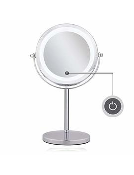 Lighted Magnifying Mirrors   1x / 10x Magnification Eye Make Up Magnifying Mirror With Light   Feita Touch Screen Adjustable Led Light Polished Chrome 7 Inch... by Feita