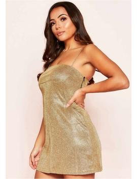 Maya Gold Glitter Square Mini Dress by Missy Empire