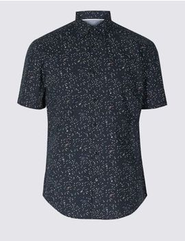 Pure Cotton Slim Fit Printed Shirt by Marks & Spencer