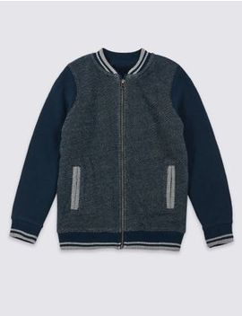 Pure Cotton Zip Through Jumper (3 16 Years) by Marks & Spencer