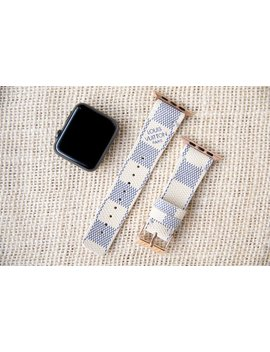 Lv, Apple Watch Band, Damier Azur, Apple Watch Straps, Lv Apple Watch Band, Series 1, 2, 3 And 4, Louis Vuitton Apple Watch Band by Etsy