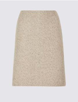 Wool Blend Herringbone A Line Mini Skirt by Standard Tracked: