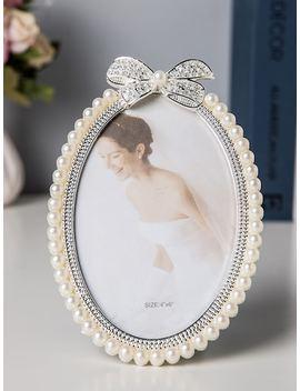 Faux Pearl Trim Photo Frame by Sheinside
