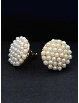 Faux Pearl Round Stud Earrings by Sheinside