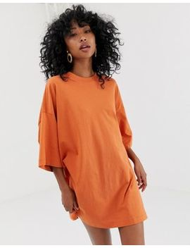 Weekday Huge T Shirt Dress In Dark Orange by Weekday