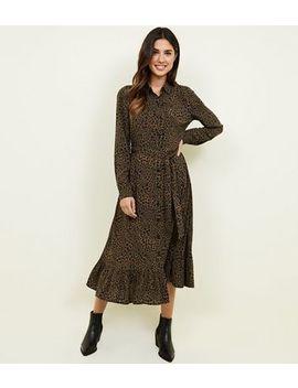 Green Leopard Print Peplum Hem Midi Shirt Dress by New Look