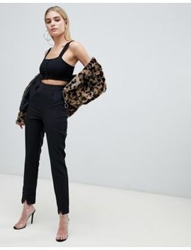 Pretty Little Thing Premium Slim Pants In Black by Pretty Little Thing