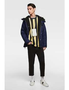 Denim Parka With Faux Shearling Lining  Denim Jackets Man by Zara