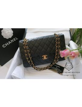Chanel Black Quilted 2.55 Lambskin Vintage Medium Classic Double Flap Bag Ghw X1 by Chanel