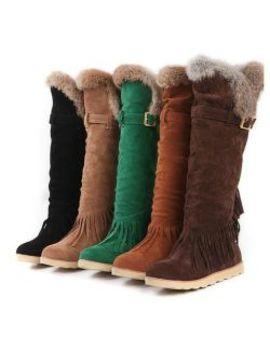 New Winter Women V Cut Tassel Flats Long Boots by I Offer