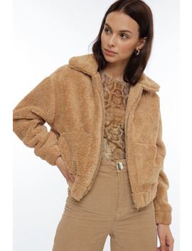Soft Teddy Zipper Jacket by Chiquelle