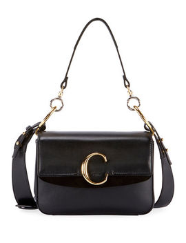 C Small Shiny Calf Leather Shoulder Bag by Chloe