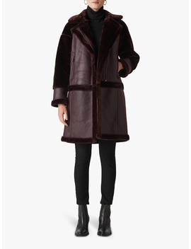 Whistles Longline Faux Fur Biker Coat, Burgundy by Whistles