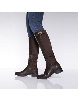 Quiz   Brown Knee High Rider Boots by Quiz