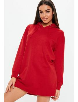 Robe Sweat à Capuche Oversize Rouge by Missguided