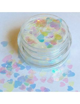 Heartz Prismatique    Heart Shaped White Iridescent Cosmetic Chunky Body & Face Glitter For Festival And Valentines Makeup Slime And Crafts by Etsy