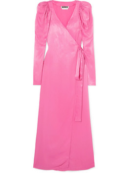 Pleated Satin Wrap Maxi Dress by Rotate