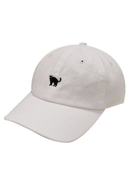 Capsule Design Small Black Cat Embroidered Cotton Baseball Dad Cap White by Etsy