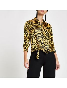 Yellow Zebra Print Tie Front Shirt by River Island