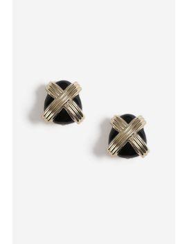 Crossed Enamel Clip On Earrings by Topshop