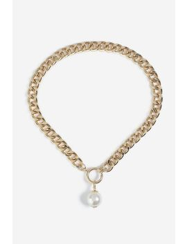**Chunky Chain Pearl Drop Necklace by Topshop