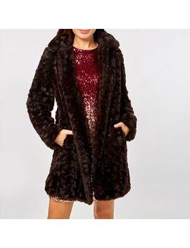 Dorothy Perkins   Chocolate Brown Longline Faux Fur Coat by Dorothy Perkins