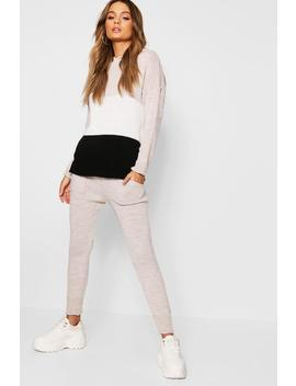 Colour Block Hooded Knit Lounge Set by Boohoo