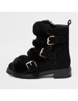 Black Faux Fur Buckle Chunky Boots by River Island