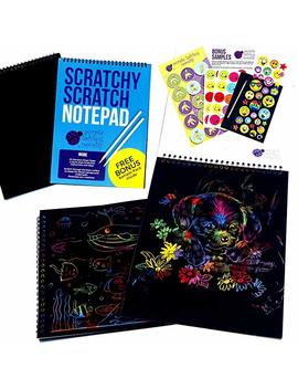 Rainbow Scratch Paper Art Kit For Kids: 20 Big Sheets Of Rainbow Colour Scratch Off Paper In A Notepad + 2 Scratchers   Perfect Gift For Girls Or Boys, Children Travel Activity For Airplane Or Car by Purple Ladybug Novelty
