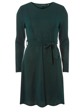 Green Tie Waist Cut And Sew Fit And Flare Dress by Dorothy Perkins