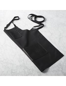 Black Waxed Cotton And Leather Apron by Crate&Barrel