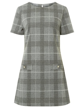 **Tall Grey Check Shift Dress by Dorothy Perkins