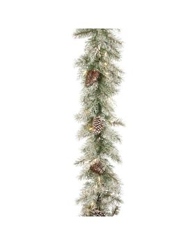 9 Ft. X 10 In. Feel Real Frosted Mountain Spruce Garland With Cones And 50 Clear Lights by National Tree Company