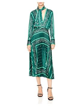 Cactus Bandana Print Pleated Midi Dress by Sandro