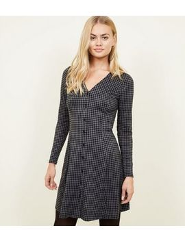 Black Houndstooth Soft Touch Button Through Dress by New Look