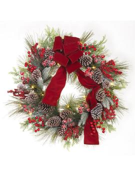30 In. Pre Lit Artificial Christmas Wreath With Pinecones And Burgundy Ribbon by Home Accents Holiday