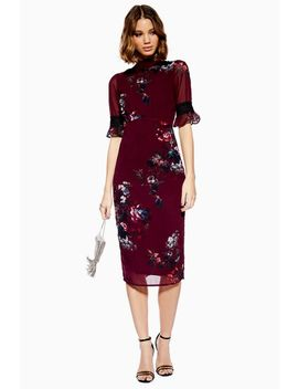 **Fluted Sleeve Midi Dress By Hope & Ivy by Topshop