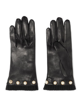 Faux Pearl Embellished Grosgrain Trimmed Leather Gloves by Gucci