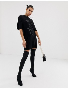 Boohoo Scribble Face T Shirt Mini Dress In Black by Boohoo