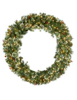 60 In. Wintry Pine Artificial Wreath With 300 Clear Lights by National Tree Company
