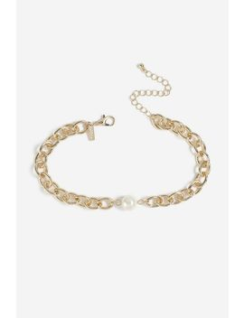 **Chain And Pearl Choker Necklace by Topshop