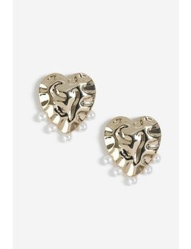 Heart Pearl Drop Studs by Topshop