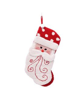 20 In. Polyester/Acrylic Hooked 3 D Santa Christmas Stocking by Glitzhome