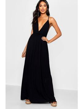 Plunge Front Floor Sweeping Maxi Dress by Boohoo